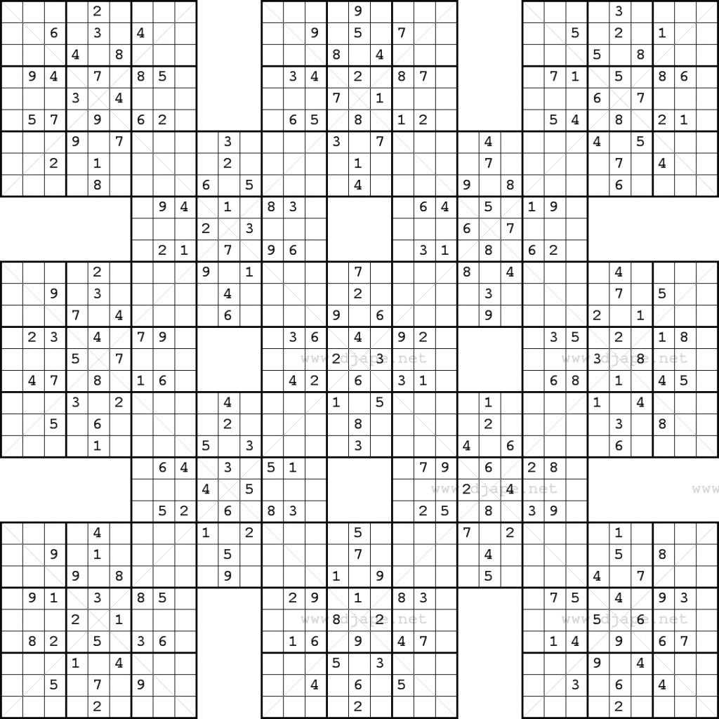 Double Harakiri Sudoku X | Super Sudoku Printable Download - Sudoku X Printable Puzzles