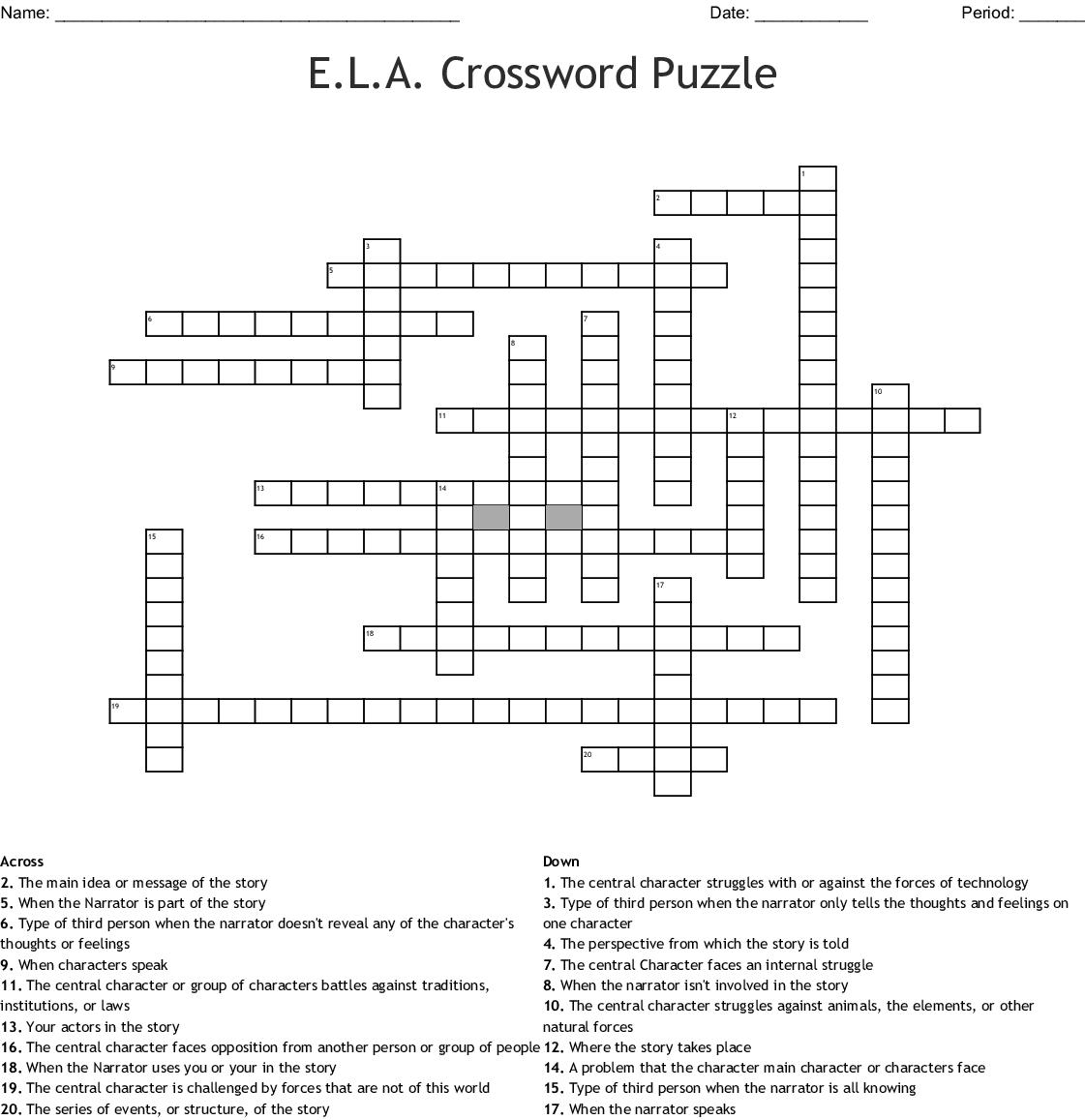 E.l.a. Crossword Puzzle Crossword - Wordmint - Crossword Printable 7Th Grade