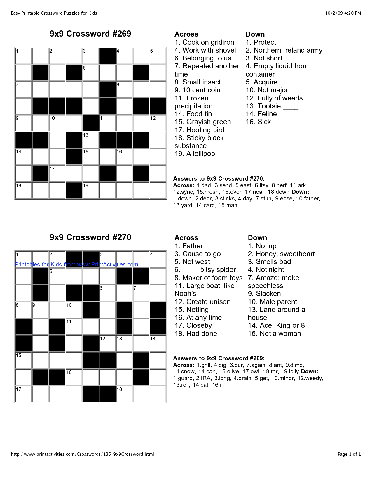 √ Printable English Crossword Puzzles With Answers - Printable Puzzles In English