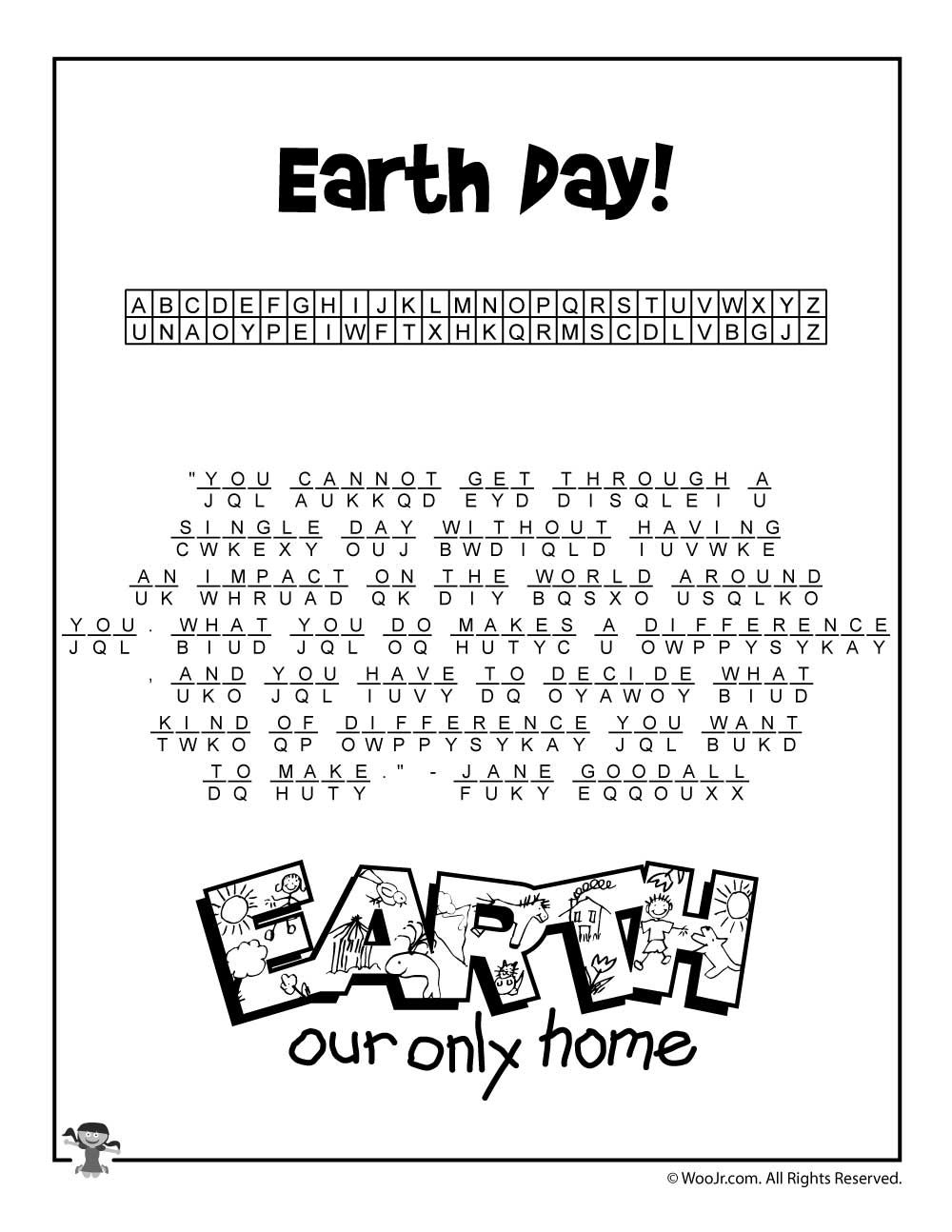 Earth Day Cryptogram Puzzle Solution | Class Decorations | Earth Day - Printable Cryptogram Puzzles With Answers