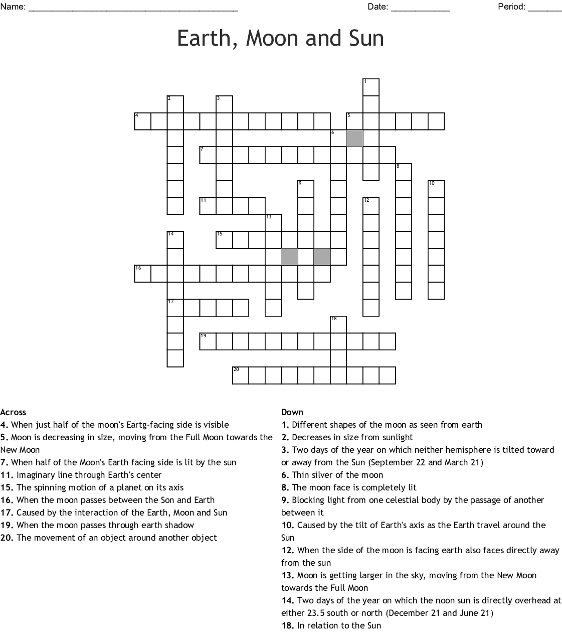 Earth, Moon And Sun Crossword - Wordmint - Printable Sun Crossword