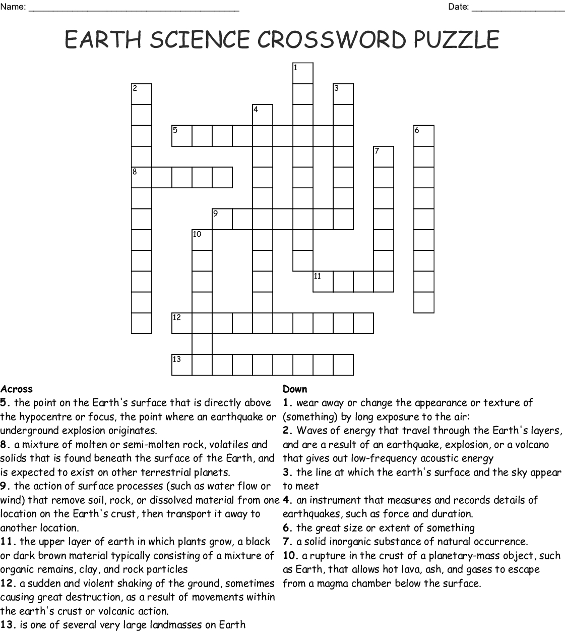 Earth Science Crossword Puzzle Crossword - Wordmint - Printable Crossword Puzzles Science