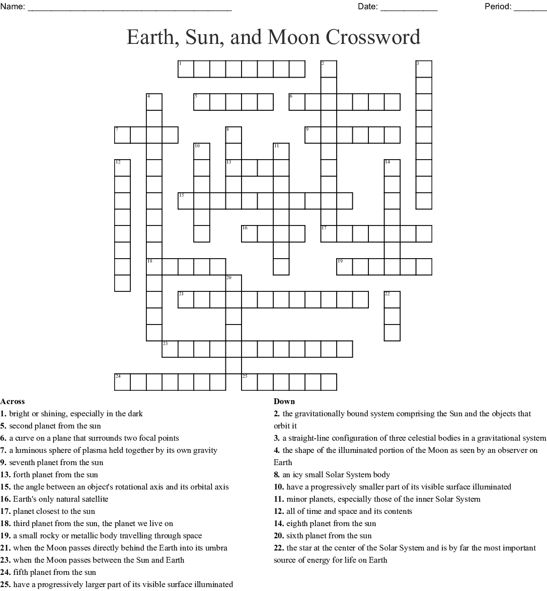 Earth, Sun, And Moon Crossword - Wordmint - Sun Crossword Printable Version
