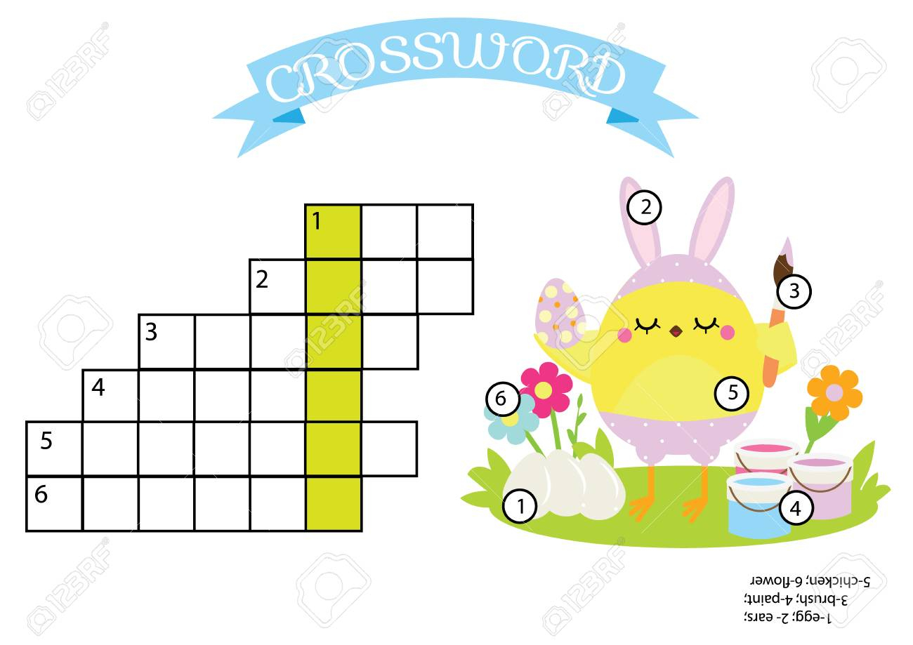 Easter Activity. Educational Children Game. Crossword With Answer - Printable Puzzle For Toddlers