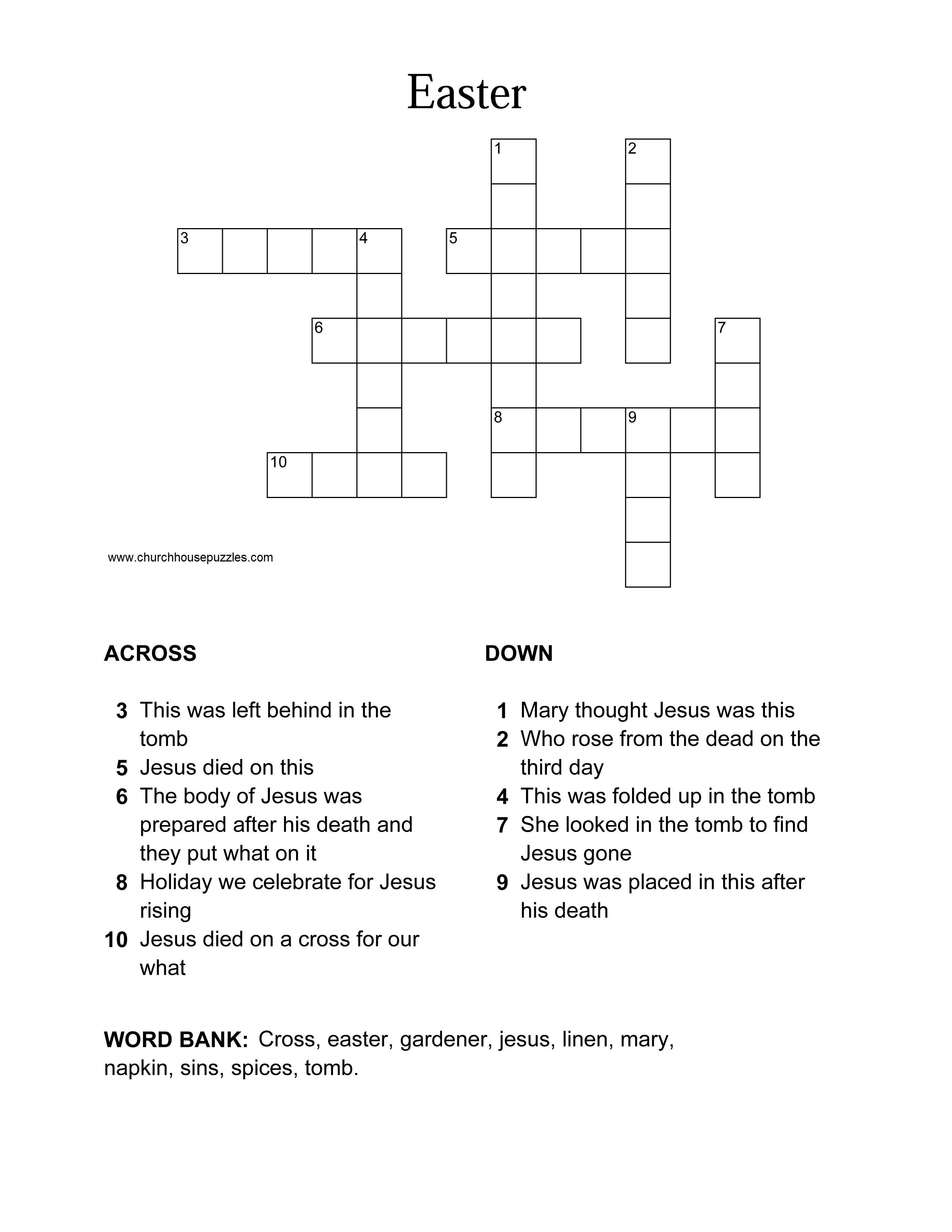 Easter Crossword Puzzle - Printable Crossword Easter