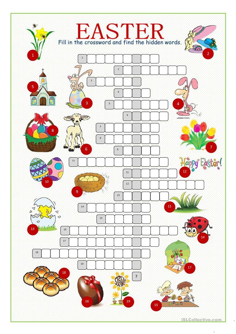 Easter Crossword Puzzle Worksheet - Free Esl Printable Worksheets - Printable Easter Puzzle