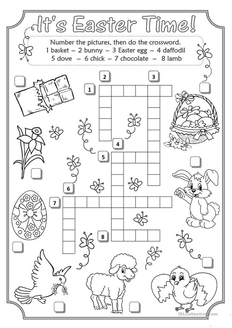 Easter Crossword Worksheet - Free Esl Printable Worksheets Made - Printable Crossword Easter