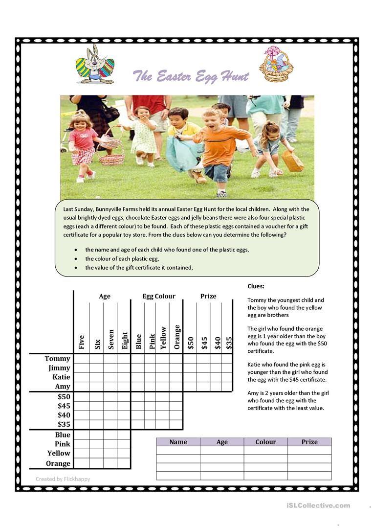 Easter Egg Hunt Logic Puzzle Worksheet - Free Esl Printable - Printable Deductive Reasoning Puzzles