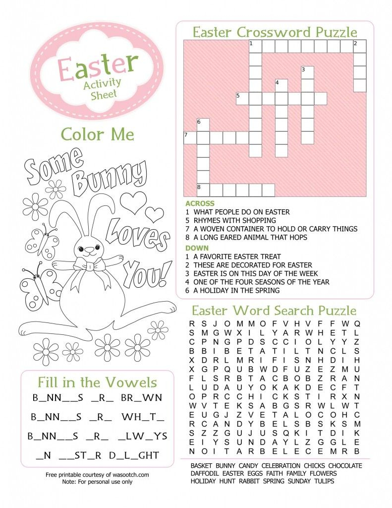 Easter Kids Activity Sheet Free Printable From Wasootch 791X1024 - Printable Bunny Puzzle