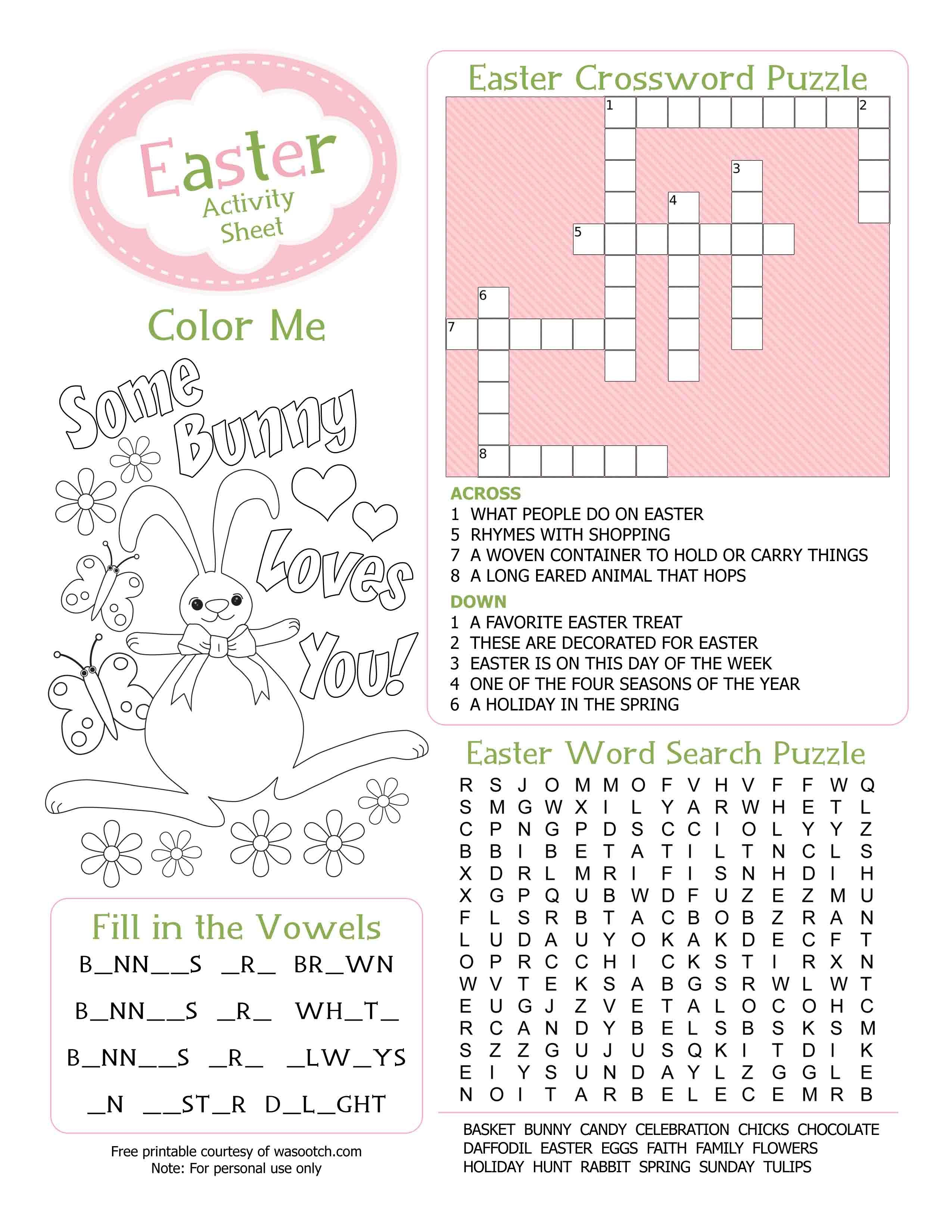 Easter Kid's Activity Sheet Free Printables Available @party - Printable Easter Puzzles For Adults