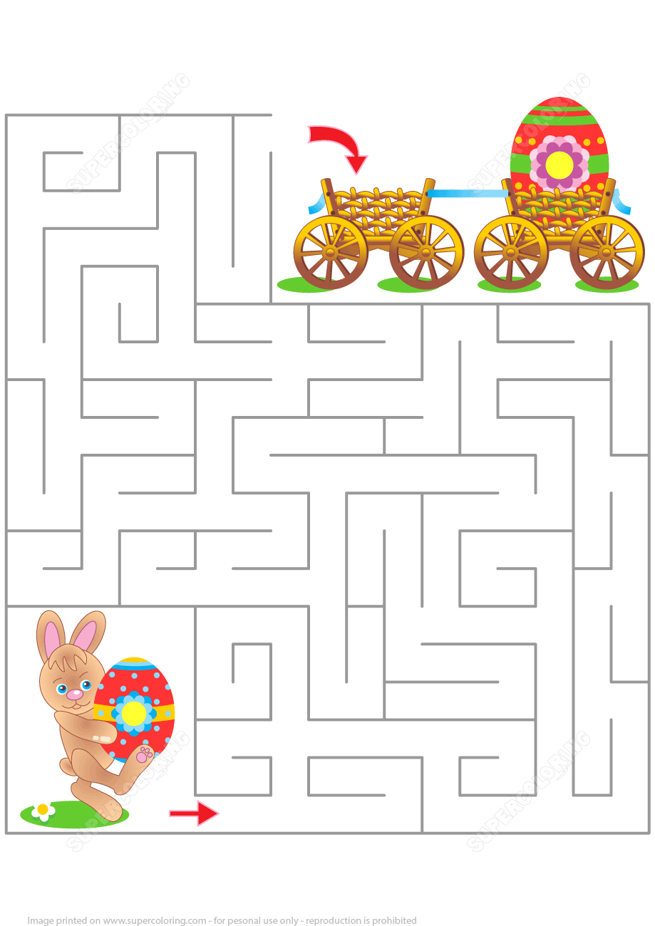 Easter Maze Puzzle | Free Printable Puzzle Games - Printable Labyrinth Puzzles