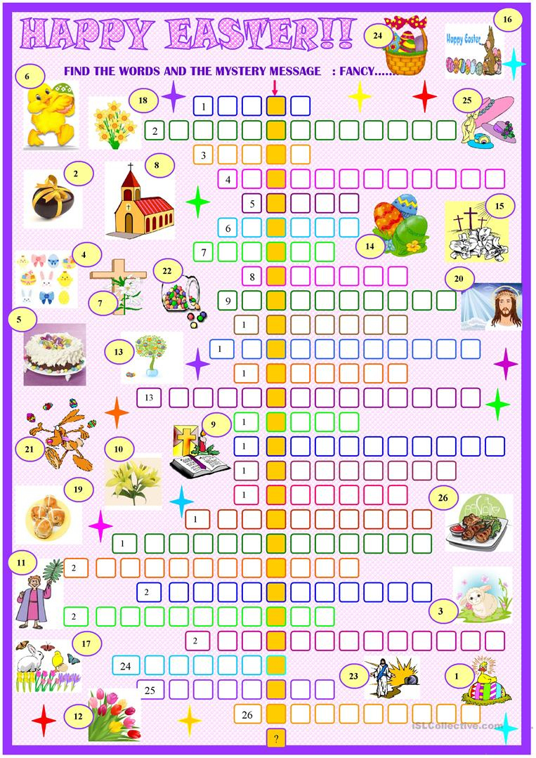 Easter:crossword Puzzle With Key Worksheet - Free Esl Printable - Printable Crossword Easter