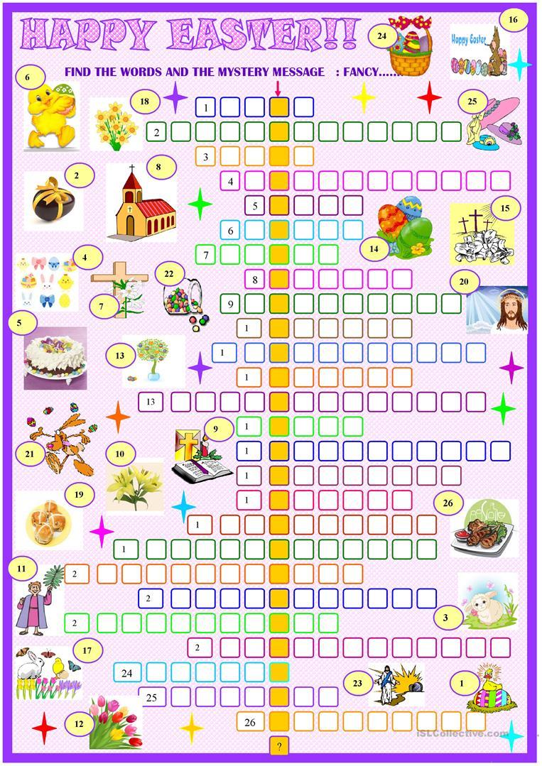 Easter:crossword Puzzle With Key Worksheet - Free Esl Printable - Printable Easter Puzzles