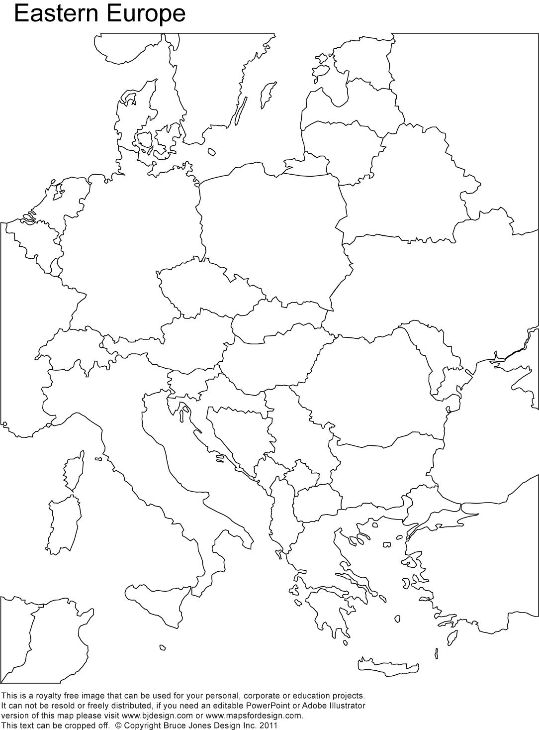 Eastern Europe Printable Blank Map, Royalty Free, Country Borders - Printable Puzzle Map Of Europe