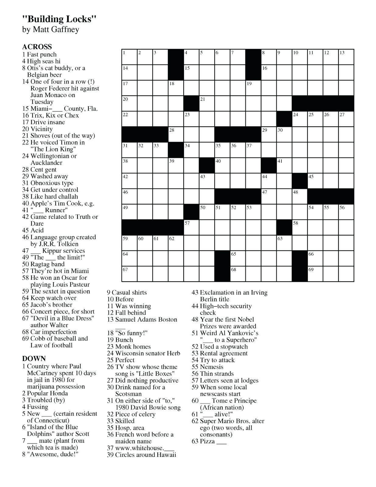 Easy Crossword Puzzle Printable – Loveisallaround.club - Printable Crossword Puzzles Uk