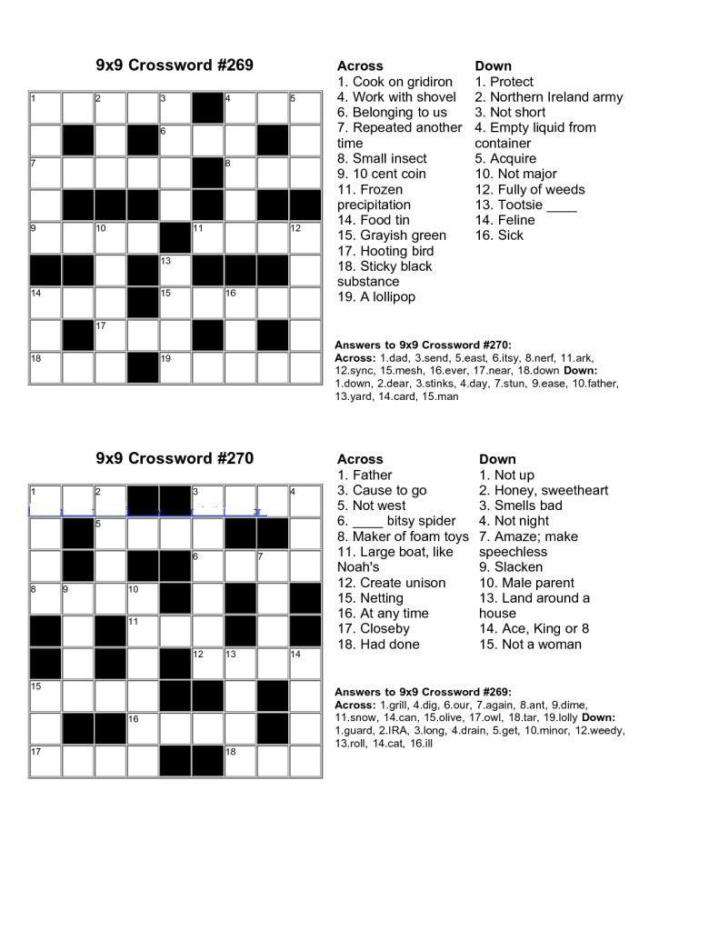 Easy Kids Crossword Puzzles   Kiddo Shelter   Educative Puzzle For - Crossword Puzzle Easy Printable With Answer