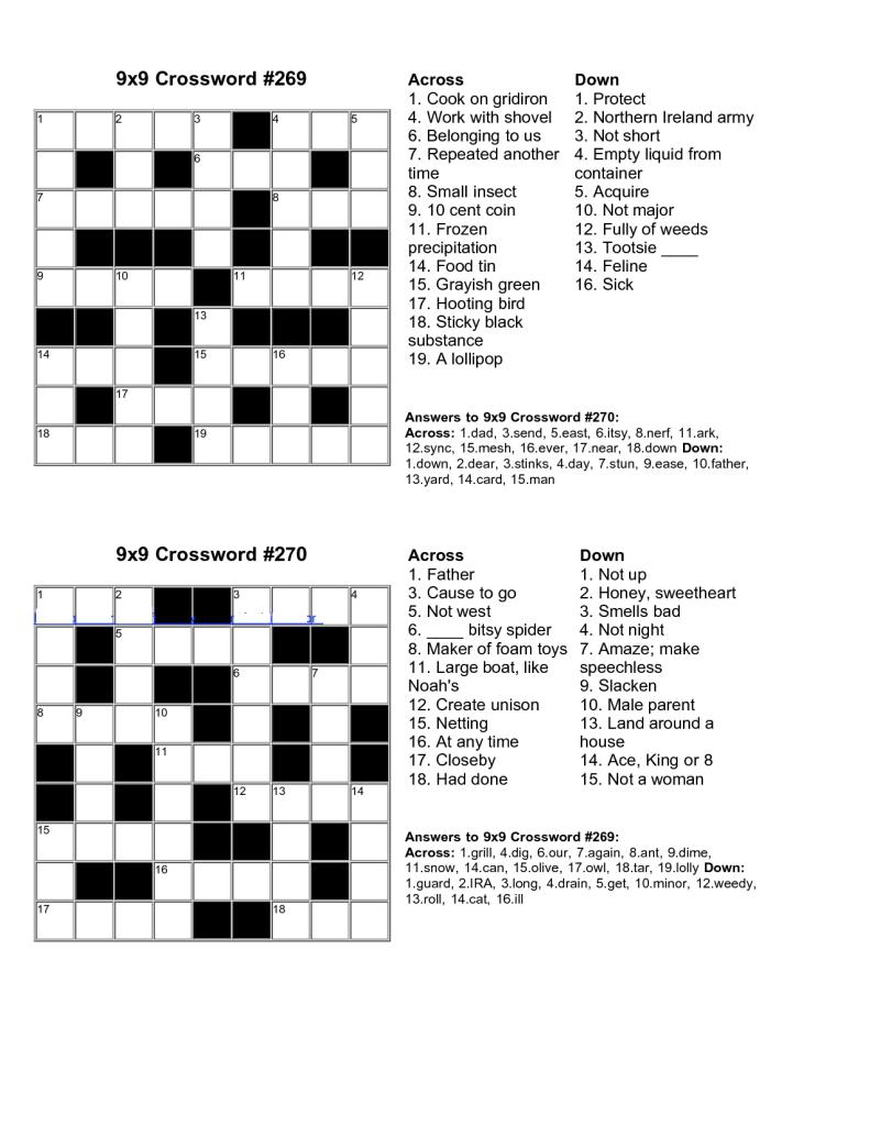 Easy Kids Crossword Puzzles   Kiddo Shelter   Educative Puzzle For - Printable Crossword Puzzle And Solutions