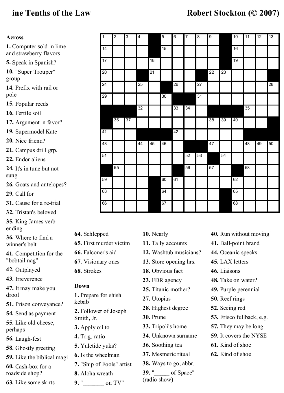 Easy Printable Crossword Puzzels - Infocap Ltd. - Make Free Printable Crossword Puzzle Online