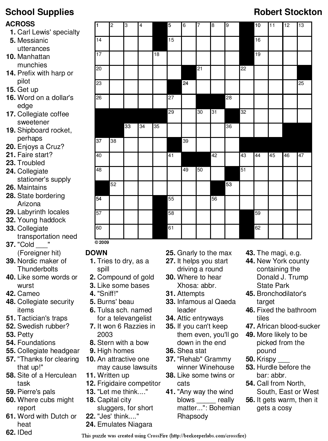 Easy Printable Crossword Puzzles | Crosswords Puzzles | Printable - Printable Japanese Crosswords
