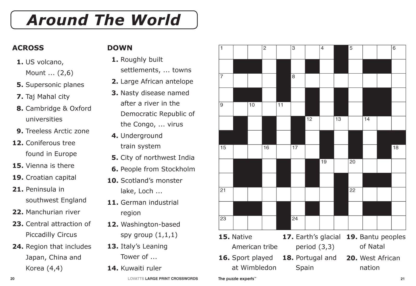 Easy Printable Crossword Puzzles | Elder Care & Dementia Care - Entertainment Crossword Puzzles Printable