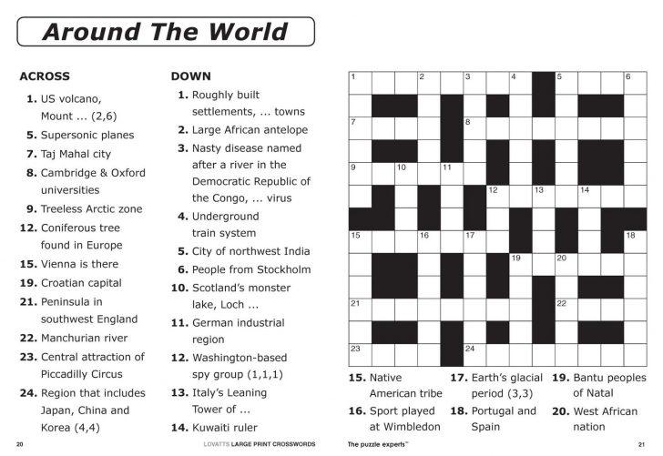 Printable Crossword Puzzles Pdf