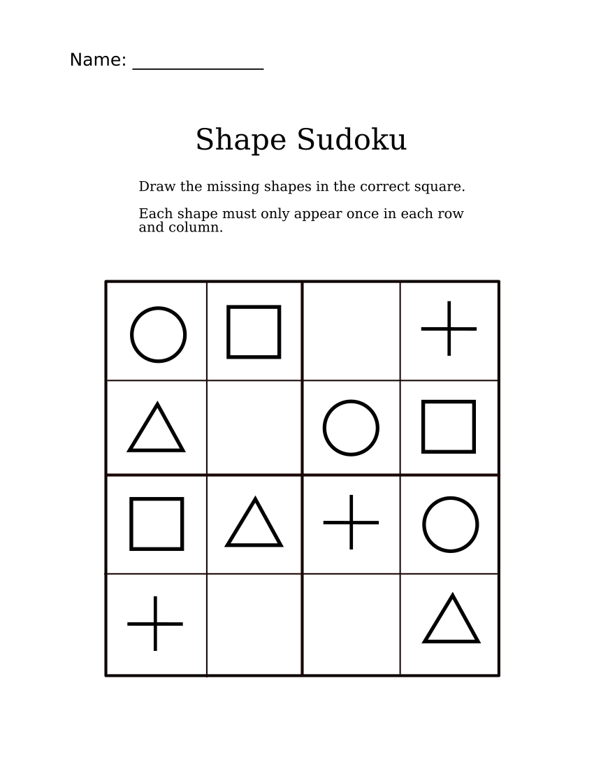 Easy Shapes Sudoku For Kindergarteners | Sudoku For Littles | Sudoku - Printable Puzzle For 4 Year Old