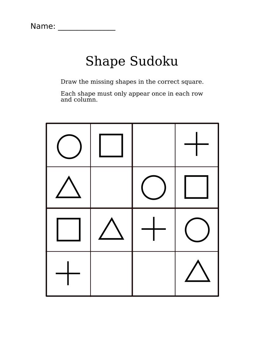 Easy Shapes Sudoku For Kindergarteners | Sudoku For Littles | Sudoku - Printable Puzzle Games Pdf