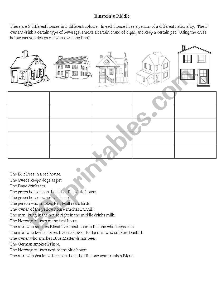 Einstein's Riddle - Esl Worksheetbetty_2000000 - Printable Einstein Puzzles