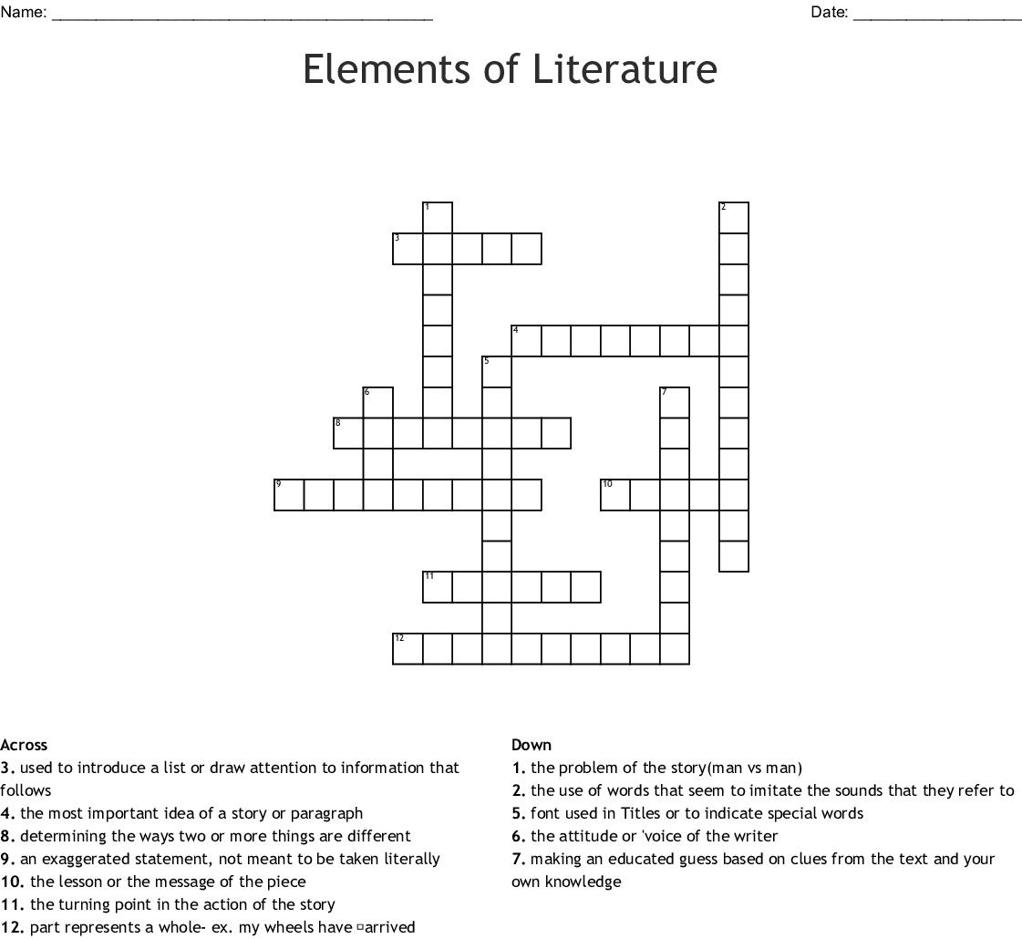 Elements Of Literature Crossword - Wordmint - Printable Literature Crossword Puzzles