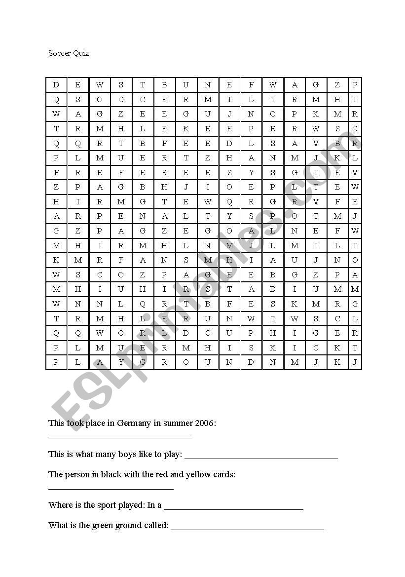 English Worksheets: Crossword Puzzle Soccer - Printable Crossword Puzzles Soccer