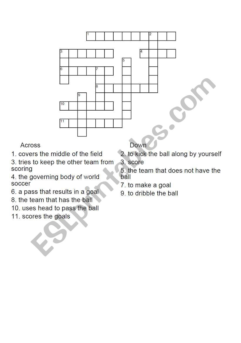 English Worksheets: Football Crossword Puzzle - Football Crossword Puzzle Printable