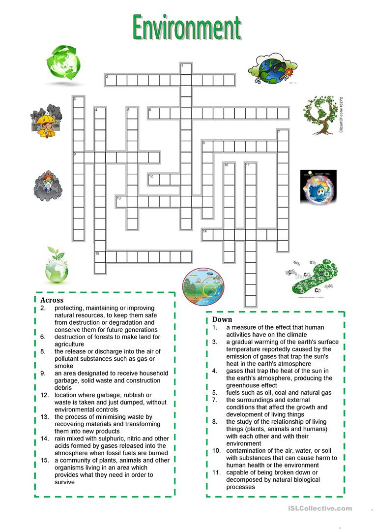 Environment - Crossword Puzzle Worksheet - Free Esl Printable - Grade 1 Crossword Puzzles Printable