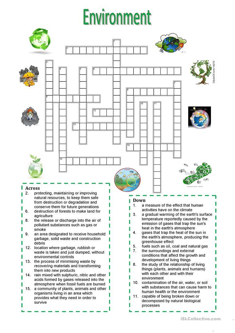 Environment - Crossword Puzzle Worksheet - Free Esl Printable - Printable English Puzzle