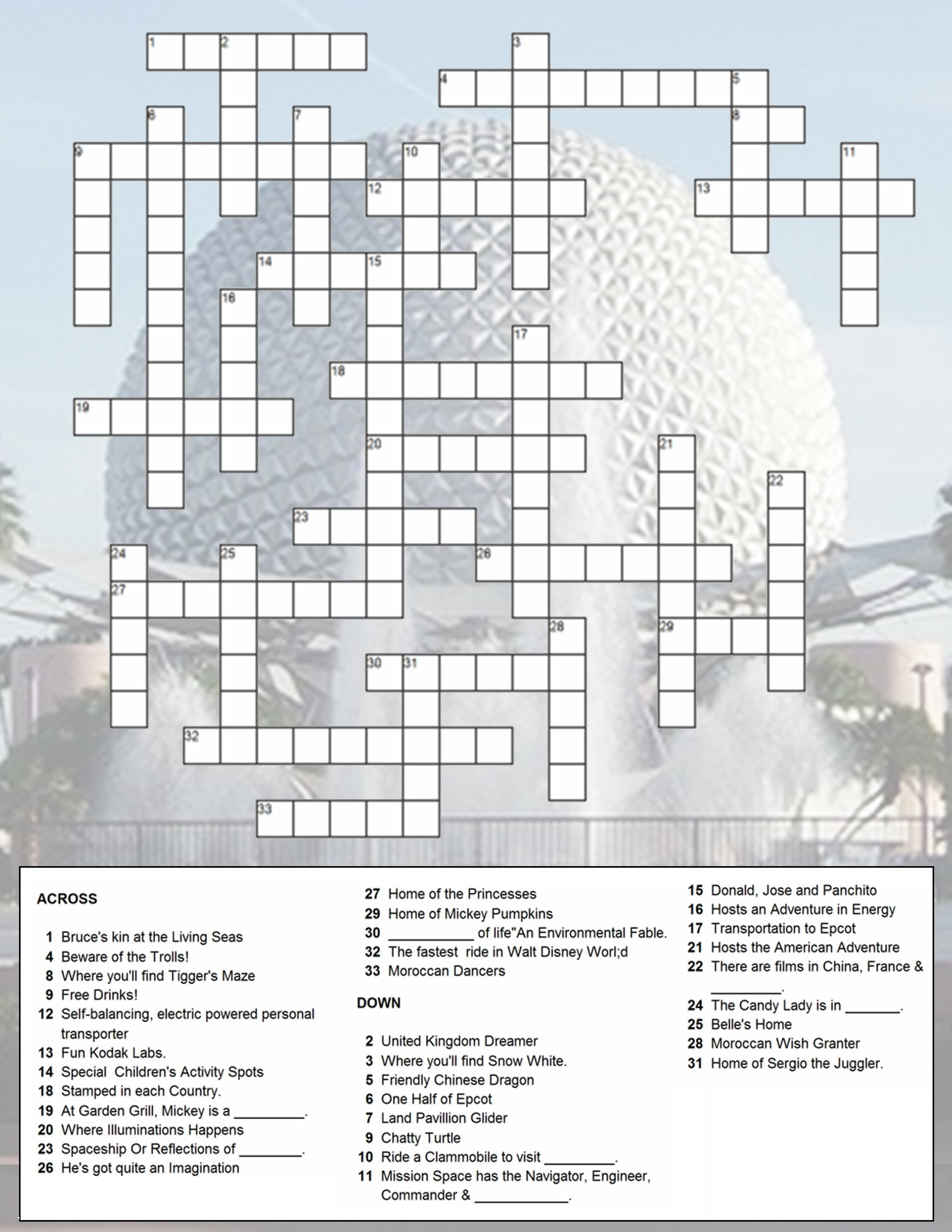 Epcot Crossword Puzzle | Just Because You Have A Fast Passdoesn't - Disney Crossword Puzzles Printable