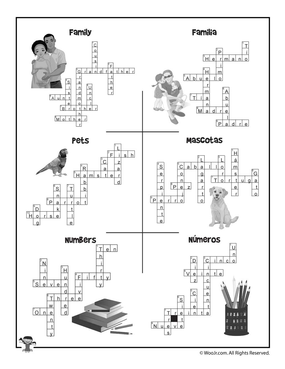 Esl Worksheet Crossword Puzzle Answers   Woo! Jr. Kids Activities - Printable Spanish Crossword Puzzle