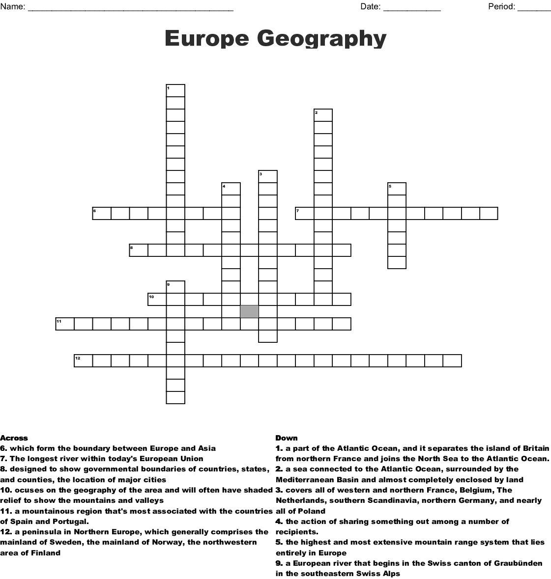 Europe Geography Crossword - Wordmint - Printable Geography Crossword