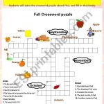 Fall Crossword Puzzle   Esl Worksheettchen Anastassia   Fall Crossword Puzzle Printable