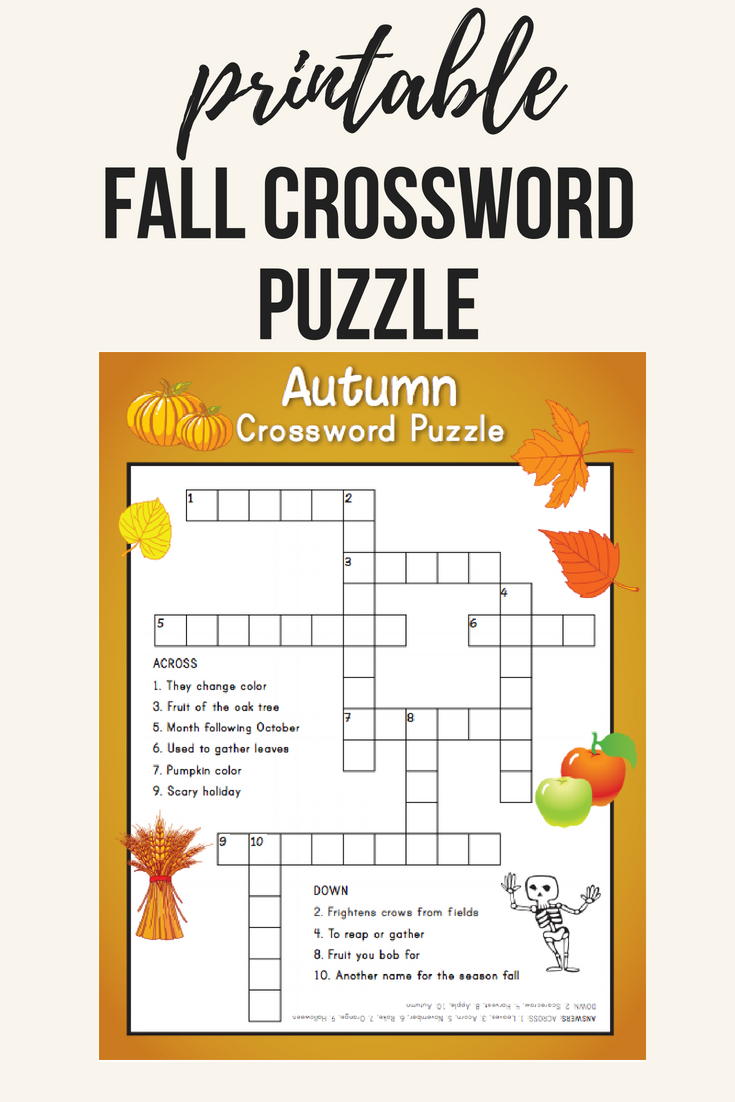 Fall Crossword Puzzle | Printables | Word Puzzles, Crossword, Puzzle - Fall Crossword Puzzle Printable