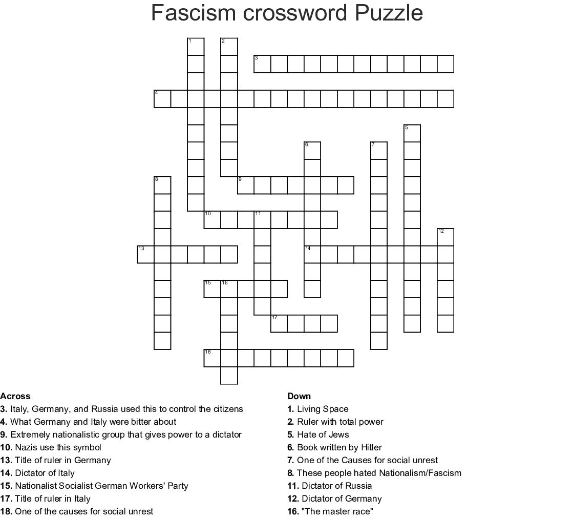 Fascism Crossword Puzzle Crossword - Wordmint - Printable German Crosswords