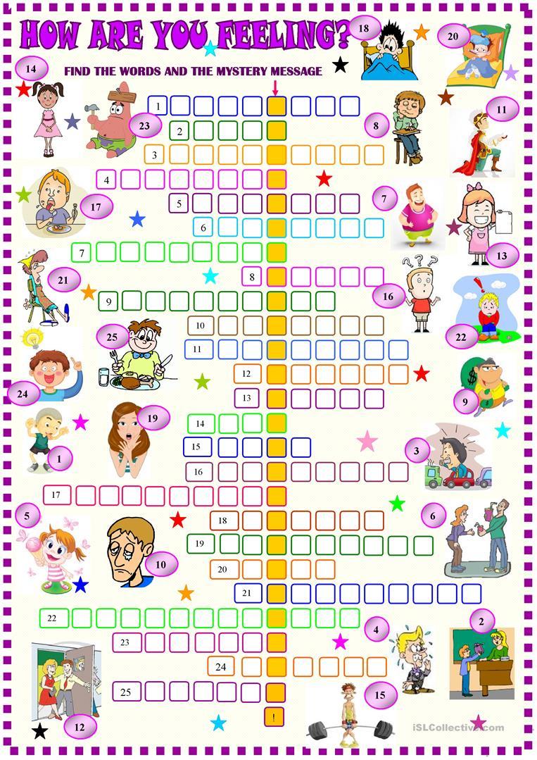 Feelings And Emotions Crossword Worksheet - Free Esl Printable - Printable Feelings Puzzle