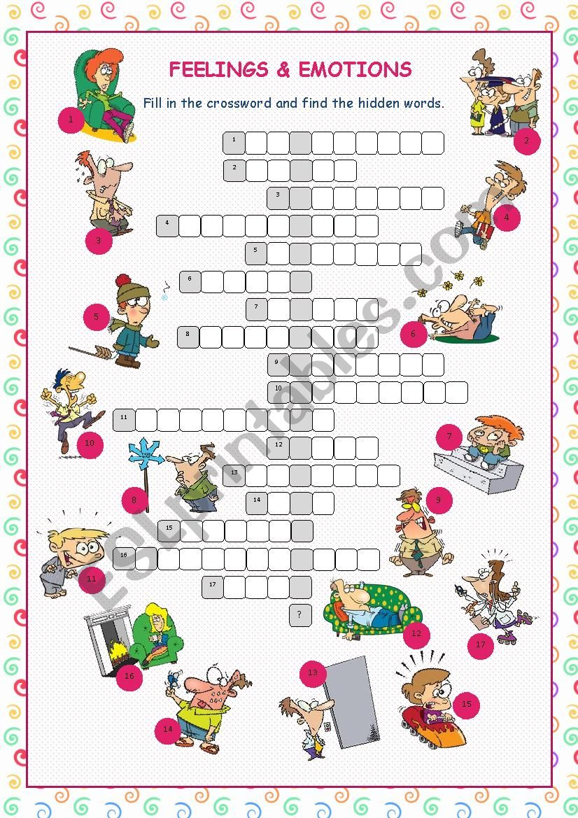 Feelings & Emotions Crossword Puzzle - Esl Worksheetkissnetothedit - Feelings Crossword Puzzle Printable