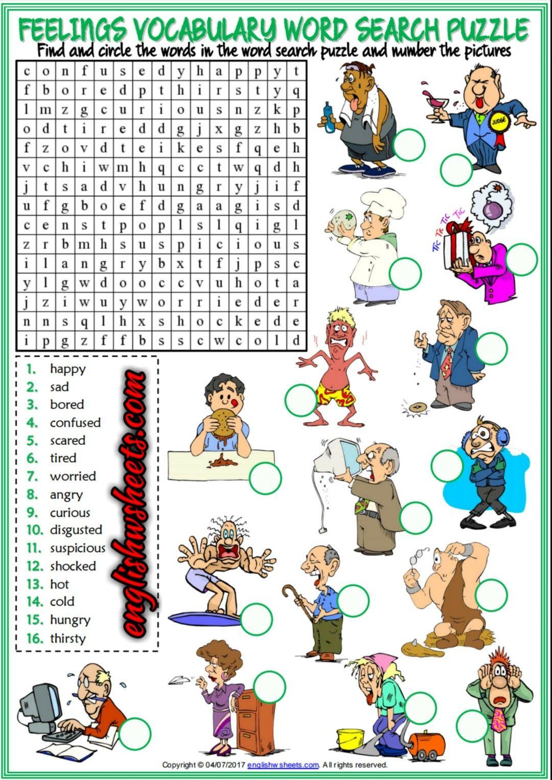 Feelings Emotions Esl Printable Word Search Puzzle Worksheets For - Printable Feelings Puzzle