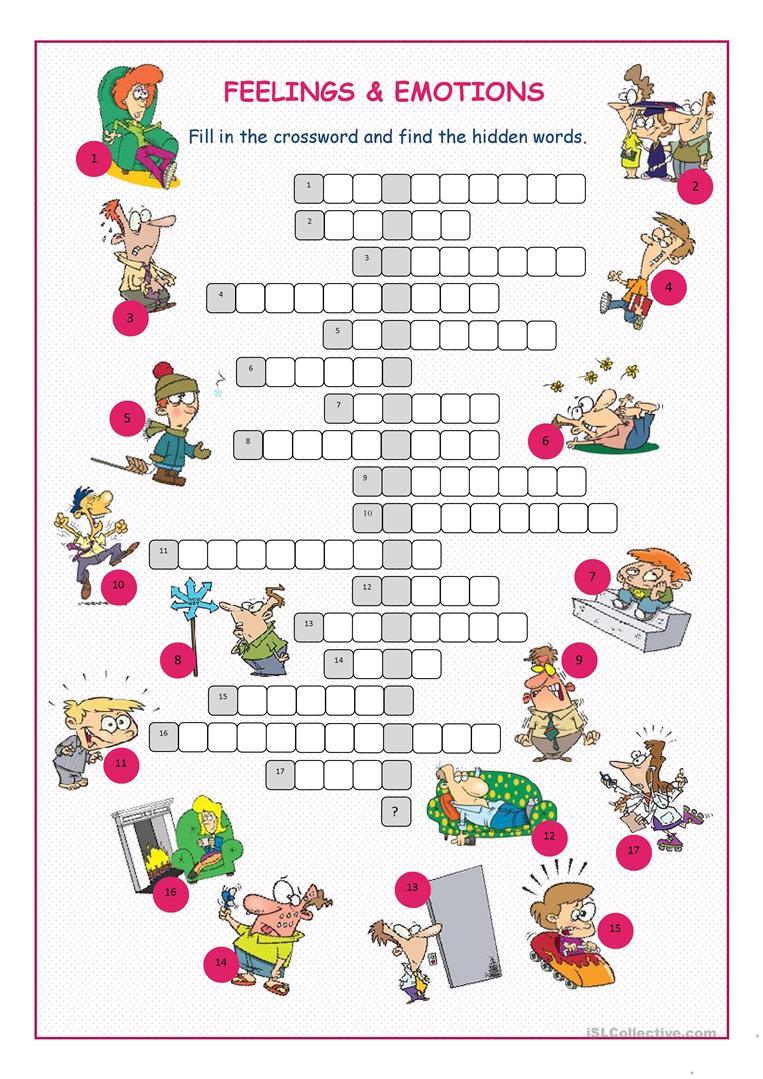 Feelings&emotions Crossword Puzzle Worksheet - Free Esl Printable - Printable Feelings Puzzle