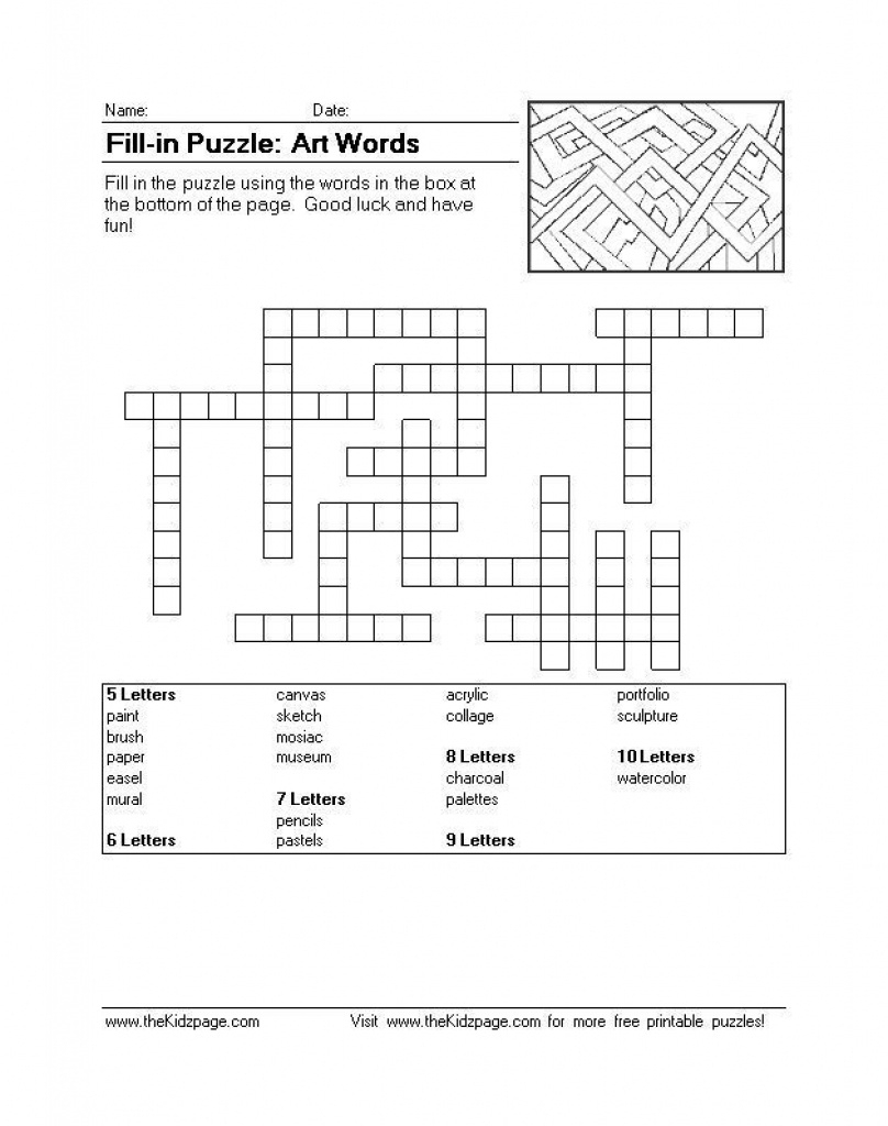 Fill-In Puzzle: Art Words - Free Printable Learning Activities For - 9 Letter Word Puzzle Printable