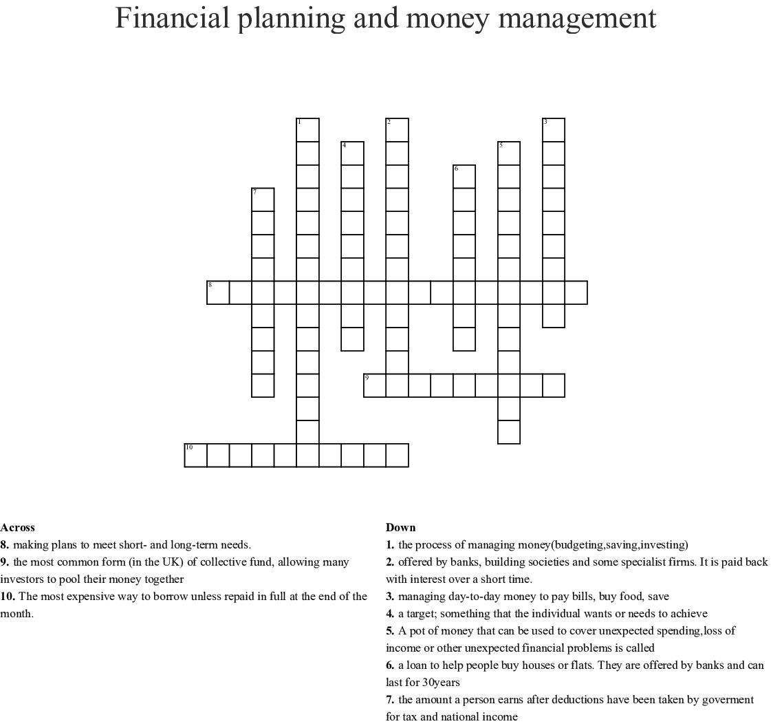 Financial Planning And Money Management Crossword - Wordmint - Printable Crossword Puzzle Money