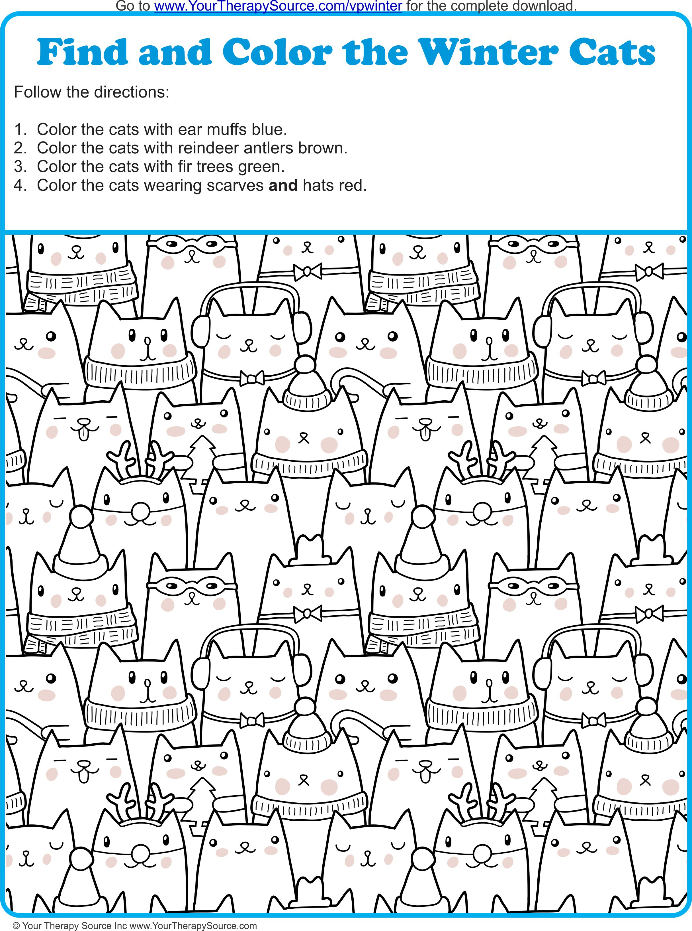 Find And Color The Winter Cats - Your Therapy Source - Printable Puzzles Winter