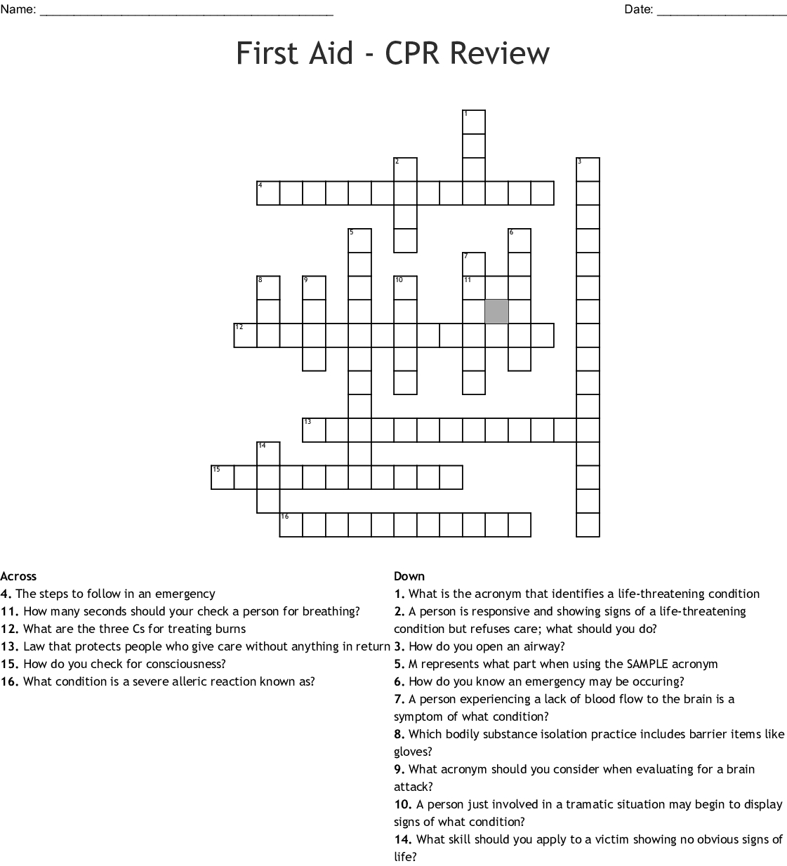 First Aid - Cpr Review Crossword - Wordmint - Printable Crossword Puzzle First Aid