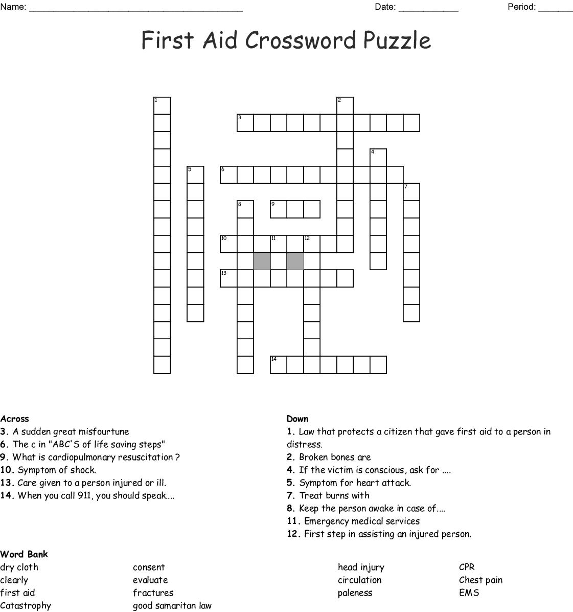 First Aid Crossword Puzzle Crossword - Wordmint - Printable Crossword Puzzle First Aid