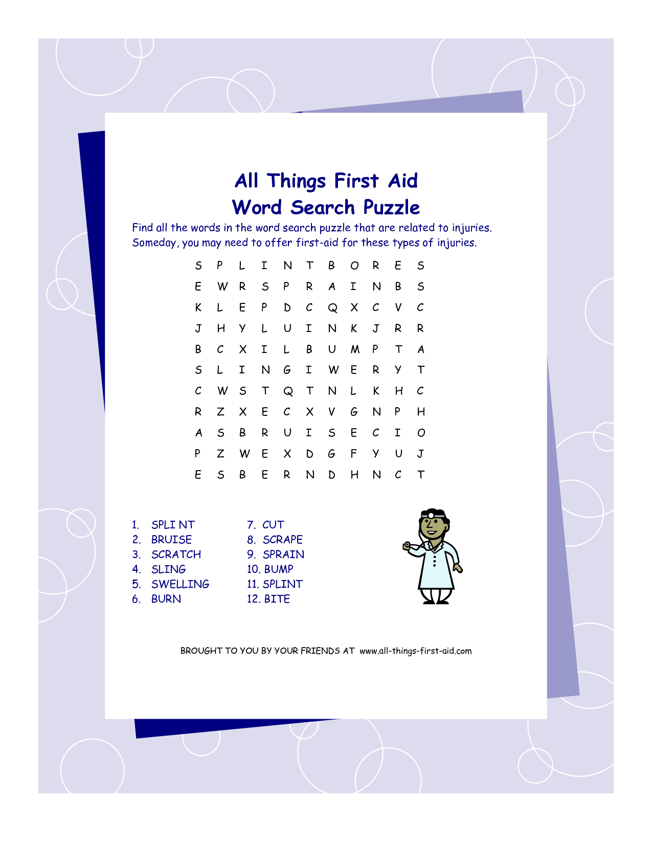First Aid Word Search Puzzle | Printables | First Aid, Word Search - Printable Crossword Puzzle First Aid