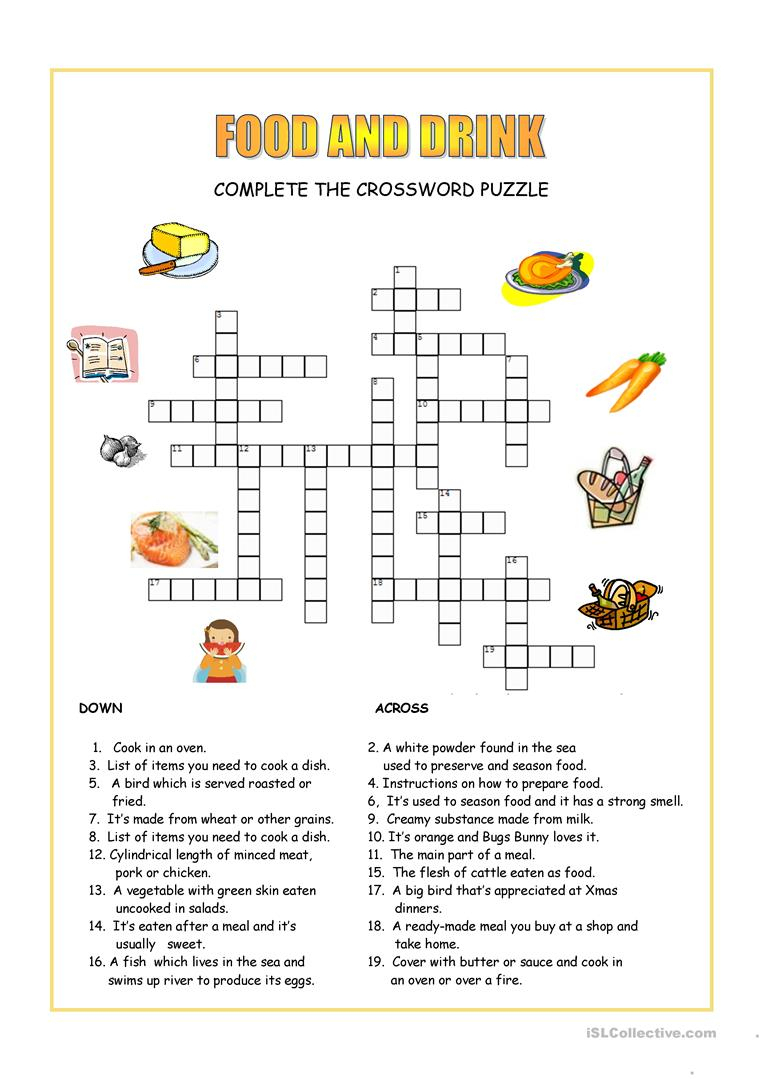 Food And Drink Crossword Worksheet - Free Esl Printable Worksheets - Printable Crossword Puzzles About Food